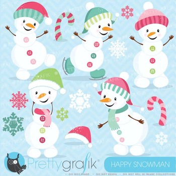 Happy PINK Snowman clipart commercial use, vector graphics