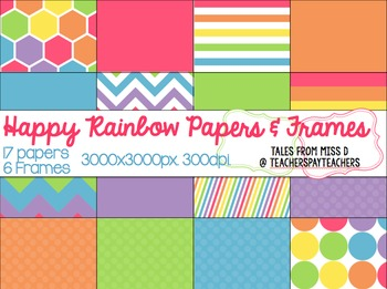 Happy Rainbow Digital Papers