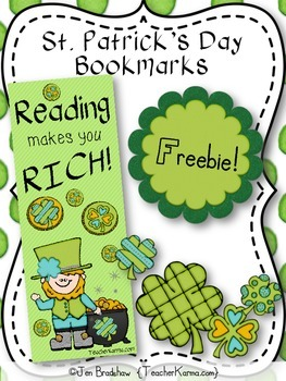 Happy St. Patrick's Day FREEBIE!  Books Make You Rich! Bookmarks