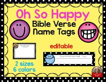 Happy Themed Bible Verse Nametags