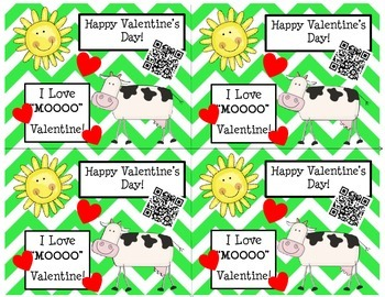 Happy Valentine's Day Cards (Chevron/Cow) with QR Codes
