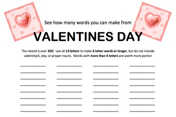 Valentine's Day Word Game