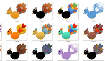 Happy and Colorful Turkey - Clipart