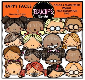 Happy faces Clip Art Bundle {Educlips Clipart}