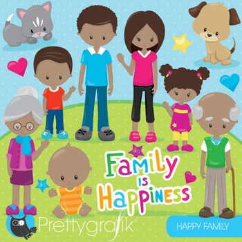 Happy family clipart commercial use, graphics, digital cli