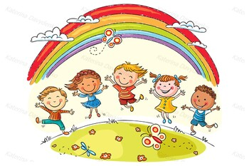Happy kids under rainbow and 9 isolated kids
