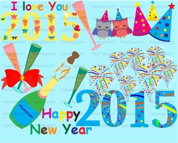 Happy new year 2015 school Clip Art invitation party firew