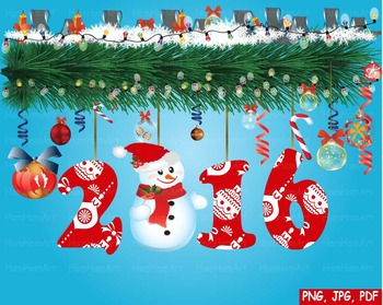 Happy new year 2016 Christmas Trees Clip Art modern decora