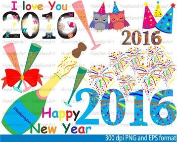 Happy new year 2016 SCHOOL Clip Art invitation party firew