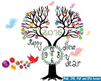 Happy new year 2016 clock  Clip Art invitation party firew