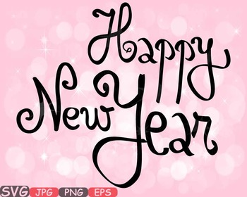 Happy new year Clip Art svg decorations ornaments word art