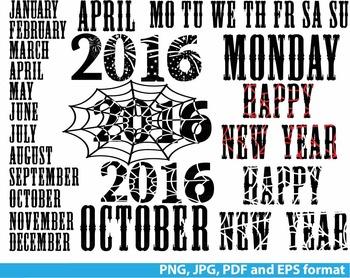 Happy new year Clip art PNG JPG PDF calendar days of the w