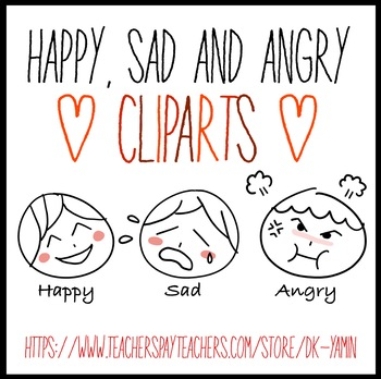 Happy, sad and angry faces doodles CLIPART