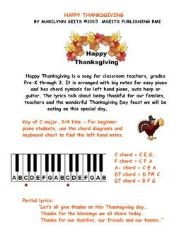 HappyThanksgiving - easy piano version w/ lyrics & chord symbols