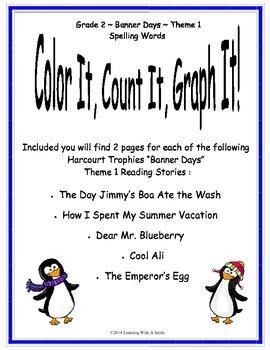 Harcourt Grade 2 Spelling Activity Color, Count, Graph It!