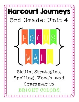 Harcourt Journeys 3rd Grade FOCUS WALL in BRIGHT colors fo