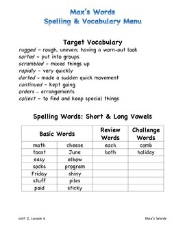 Harcourt Journeys 2011 Grade 3 Unit 2 Spelling & Vocab Lists