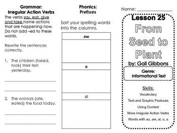 Harcourt Journeys Lesson 25 From Seed to Plant Skills Trifold