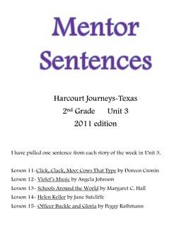 Harcourt Journeys Mentor Sentences 2nd grade Unit 3