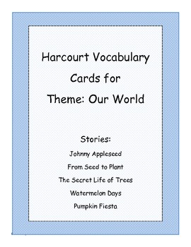 Harcourt Just for You Theme 3: Our World Vocabulary Cards