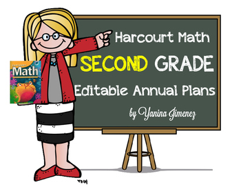 Harcourt Math Second Grade Editable Annual Plans aligned w