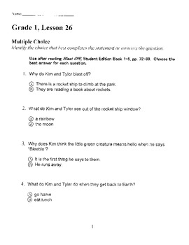 Harcourt Storytown Adapted Weekly Tests, Grade 1, Lessons 26-30