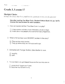 Harcourt Storytown Adapted Weekly Tests, Grade 3, Lessons