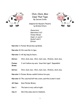 Harcourt Storytown Click, Clack Moo Cows That Type Reader'