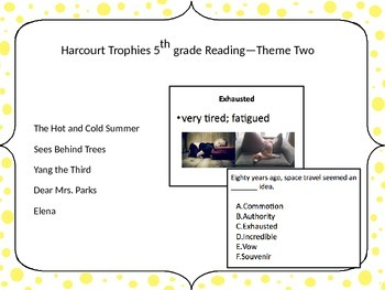 5th Grade Harcourt Trophies Vocabulary Powerpoint Theme Two