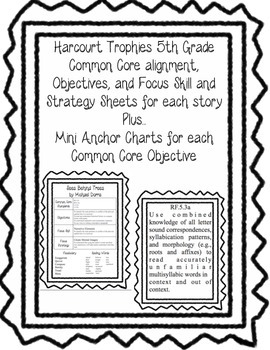 Harcourt Trophies 5th Grade information sheets and common