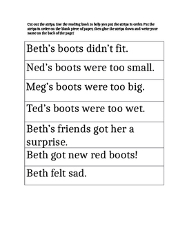 Harcourt Trophies Boots for Beth Differentiated Story Sequence