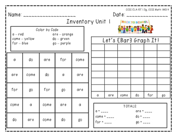 "Harcourt Trophies ""Inventory Unit 1"" - Find, Color, Graph"