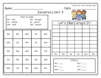 """Harcourt Trophies """"Inventory Unit 3"""" - Find, Color, Graph"""