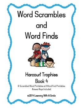 Harcourt Trophies ~ Scrambled Words & Word Finds for Book
