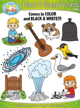 Hard G Sound Phonics Words Clipart Set — Includes 20 Graphics!