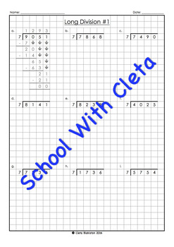 Harder Long Division Worksheets (4 Digit Dividends With 7