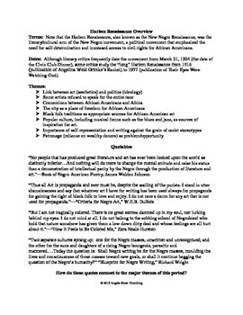 Harlem Renaissance Overview Activity