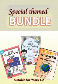 Harmony Day, ANZAC Day and Easter Pack BUNDLE Years 1-2