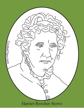 Harriet Beecher Stowe Clip Art, Coloring Page or Mini Poster