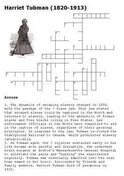 Harriet Tubman Crossword