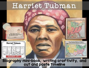 Harriet Tubman Minibook with writing craftivity and map co