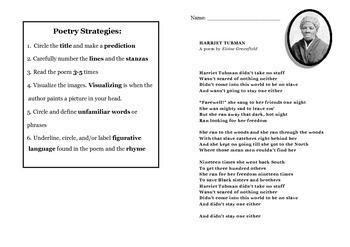 Harriet Tubman Poem with STAAR questions