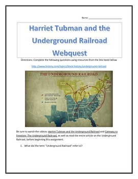 Harriet Tubman and the Underground Railroad- Webquest and