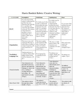 Harris Burdick Creative Writing Rubric - Simple Easy Middl