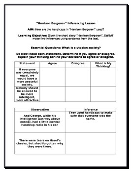 """""""Harrison Bergeron"""" Inferencing Lesson with Differentiated"""