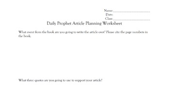 Harry Potter Daily Prophet Writing Assignment