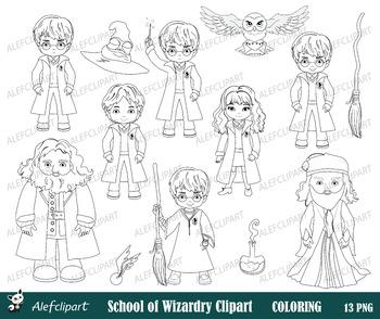 Harry Potter Digital Clipart, Coloring clipart, Blackline