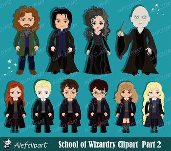 Harry Potter Digital Clipart, Wizard Clipart, Magic Clipar