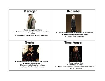 Harry Potter-Group Role Cards