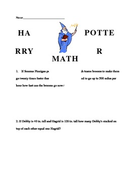 Harry Potter Math Word Problems